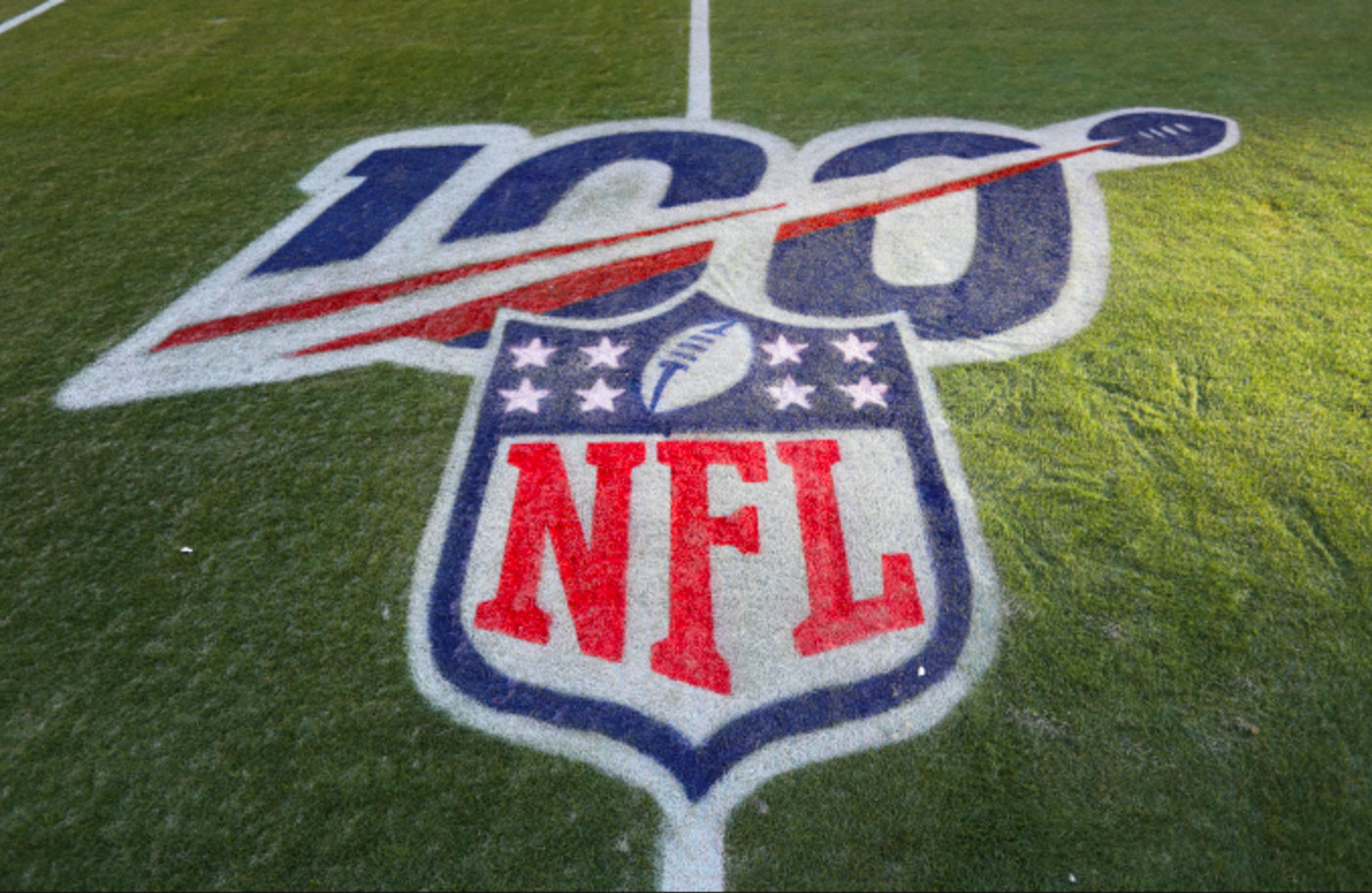 A view of the 100-year NFL logo