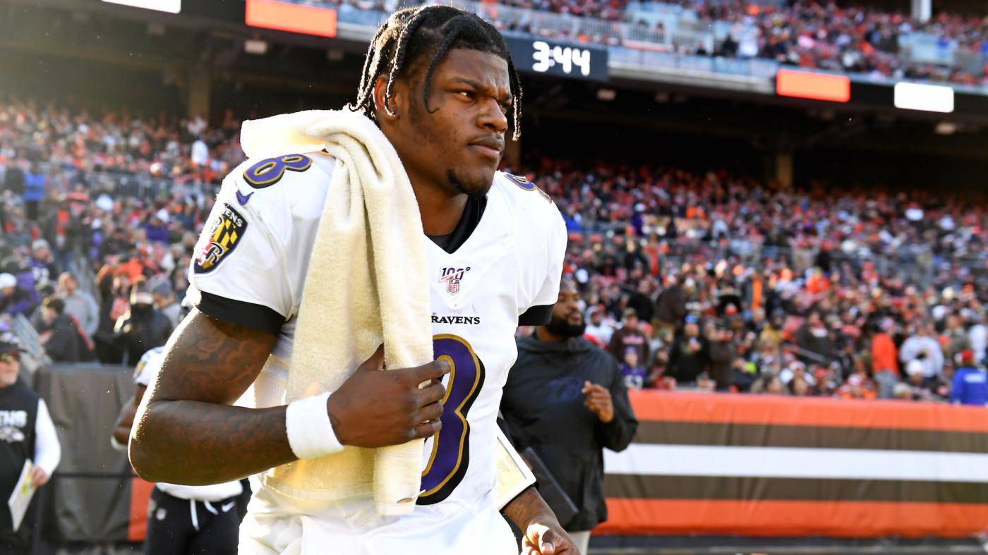 Quarterback Lamar Jackson #8 of the Baltimore Ravens