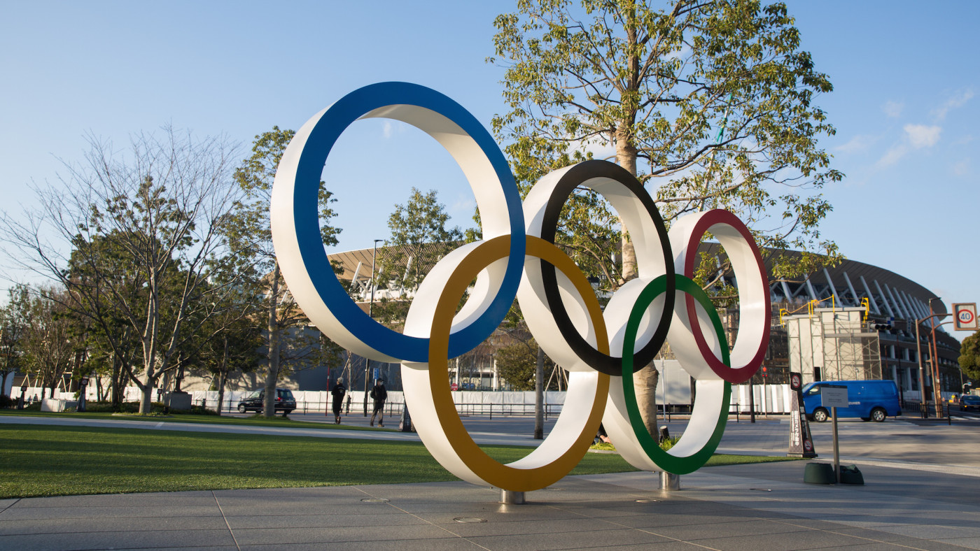 View of the Olympic Rings near the new National Stadium