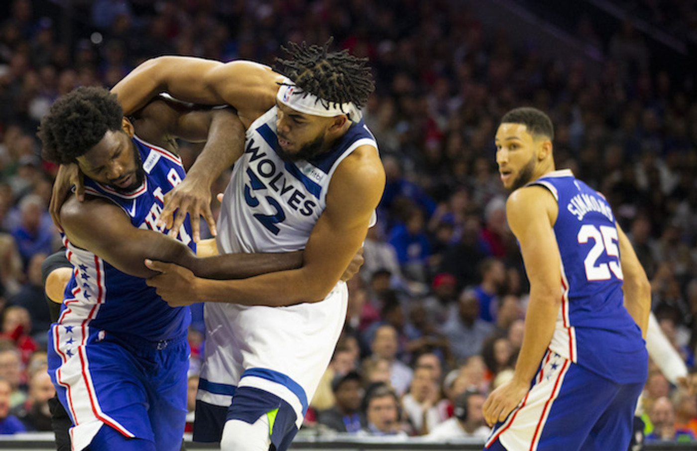 Joel Embiid gets in a fight with Karl-Anthony Towns.