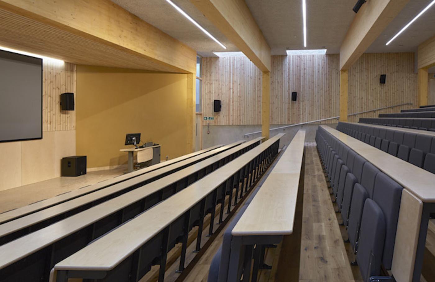 View across lecture theatre. The Enterprise Centre UEA, Norwich, United Kingdom.