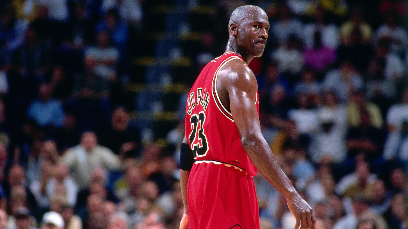 Michael Jordan looks on during a game played on May 23, 1998 at the Market Square Arena.