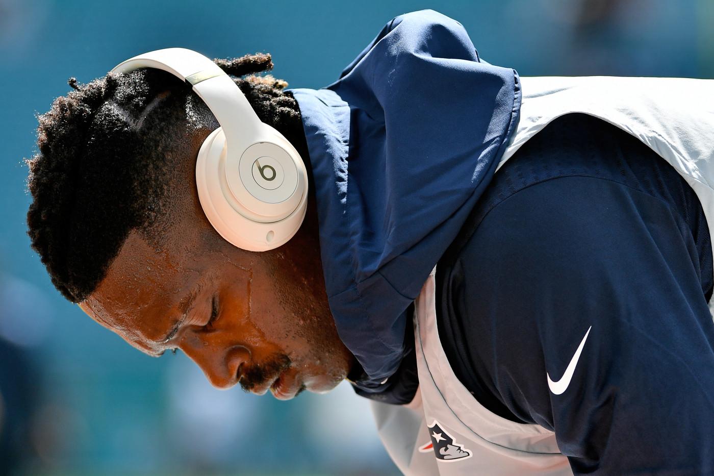 Antonio Brown Warmups Patriots Dolphins 2019