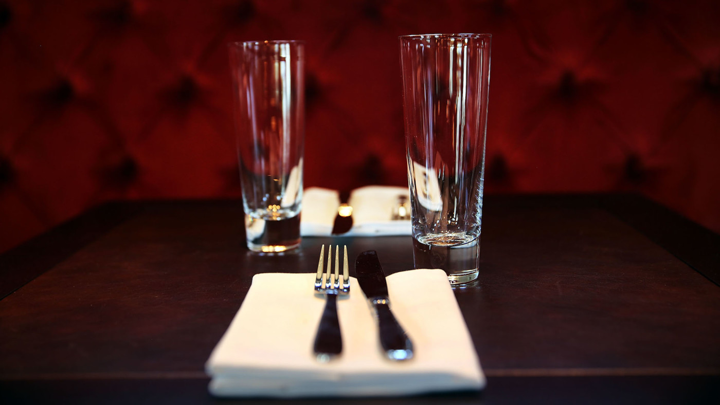 A table setting is viewed in the bar at the newly re-opened Tavern on the Green.