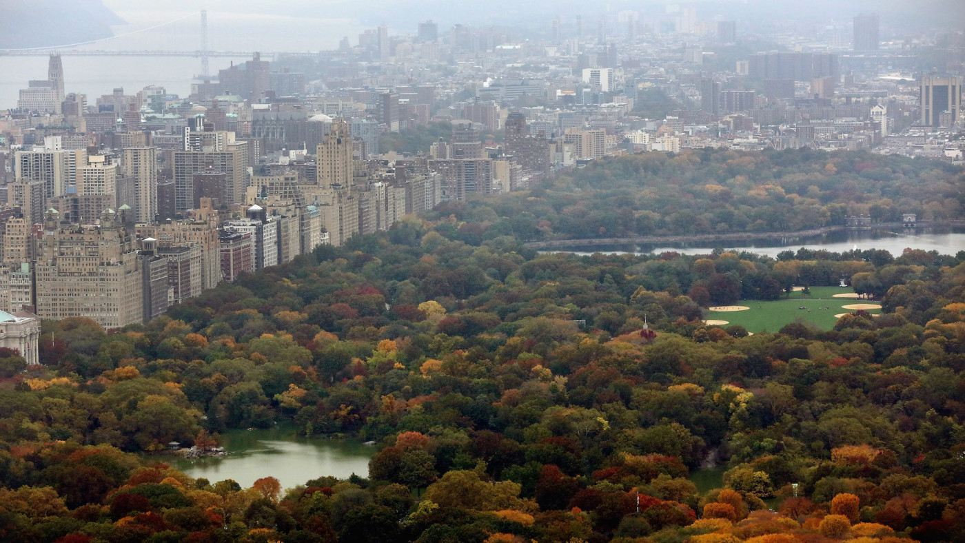 Manhattan and Central Park are seen from the 'Top of the Rock' observation deck.