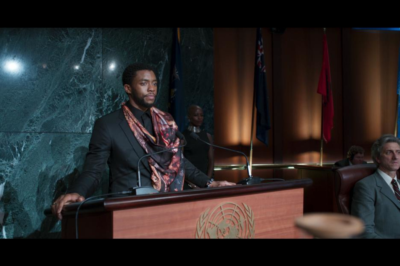 T'Challa speaks in front of U.N. during 'Black Panther'
