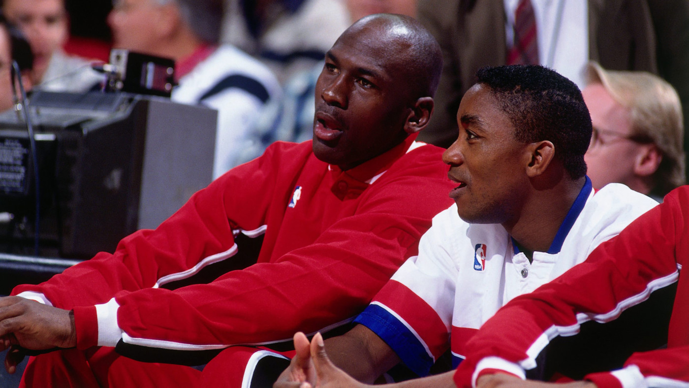 Michael Jordan and Isiah Thomas during the '92 All-Star Game.