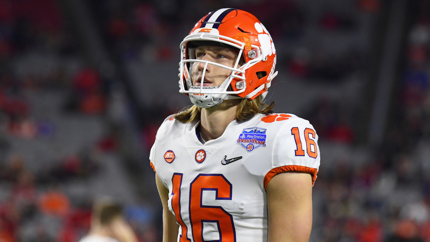 Clemson Tigers quarterback Trevor Lawrence looks on during 2019 PlayStation Fiesta Bowl.