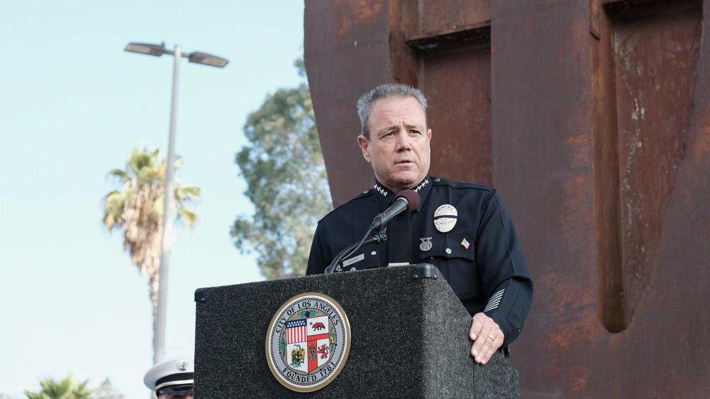 Los Angeles Police Chief Michael Moore speaks during a September 11 memorial.