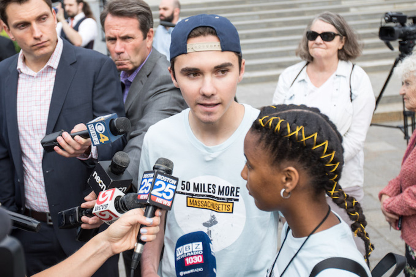 David Hogg at a march in Massachusetts