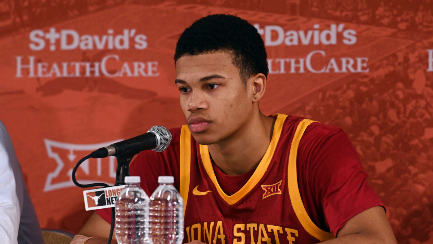 Iowa State Cyclones guard Rasir Bolton conducts a post game interview.