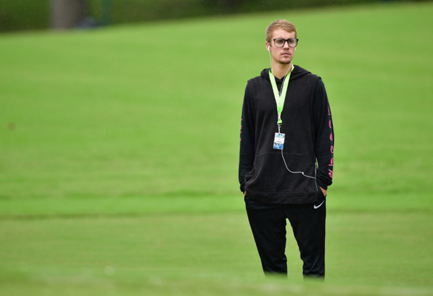 Justin Bieber attends a practice round prior to the 2017 PGA Championship