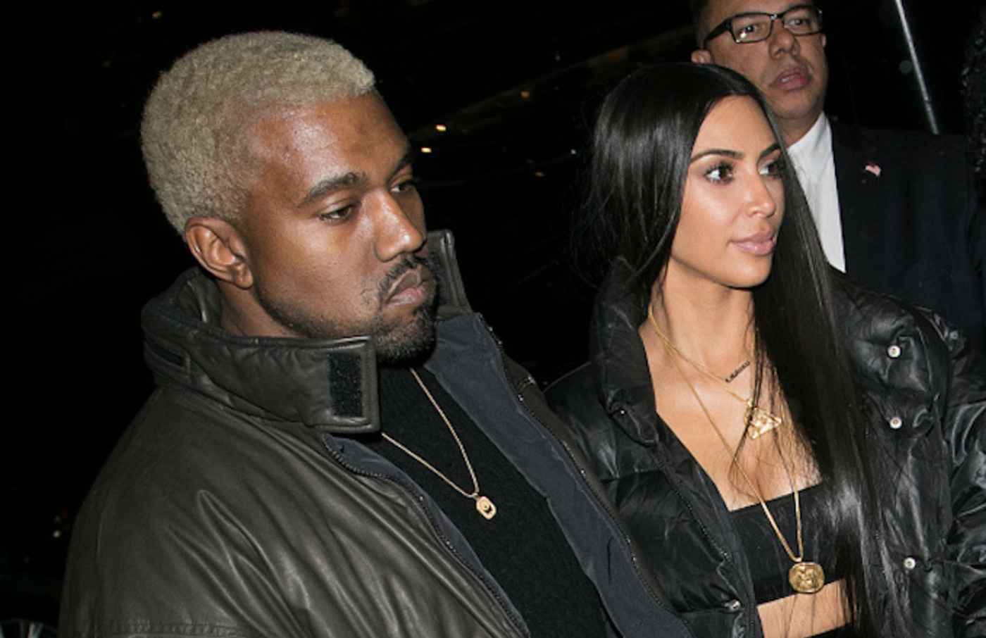 Kanye West and wife Kim Kardashian West are seen on February 14, 2017