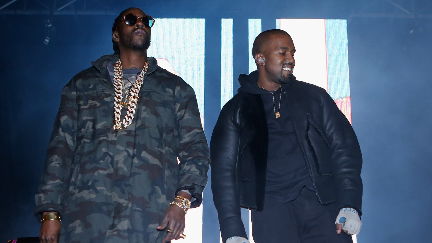 2Chainz and Kanye West perform