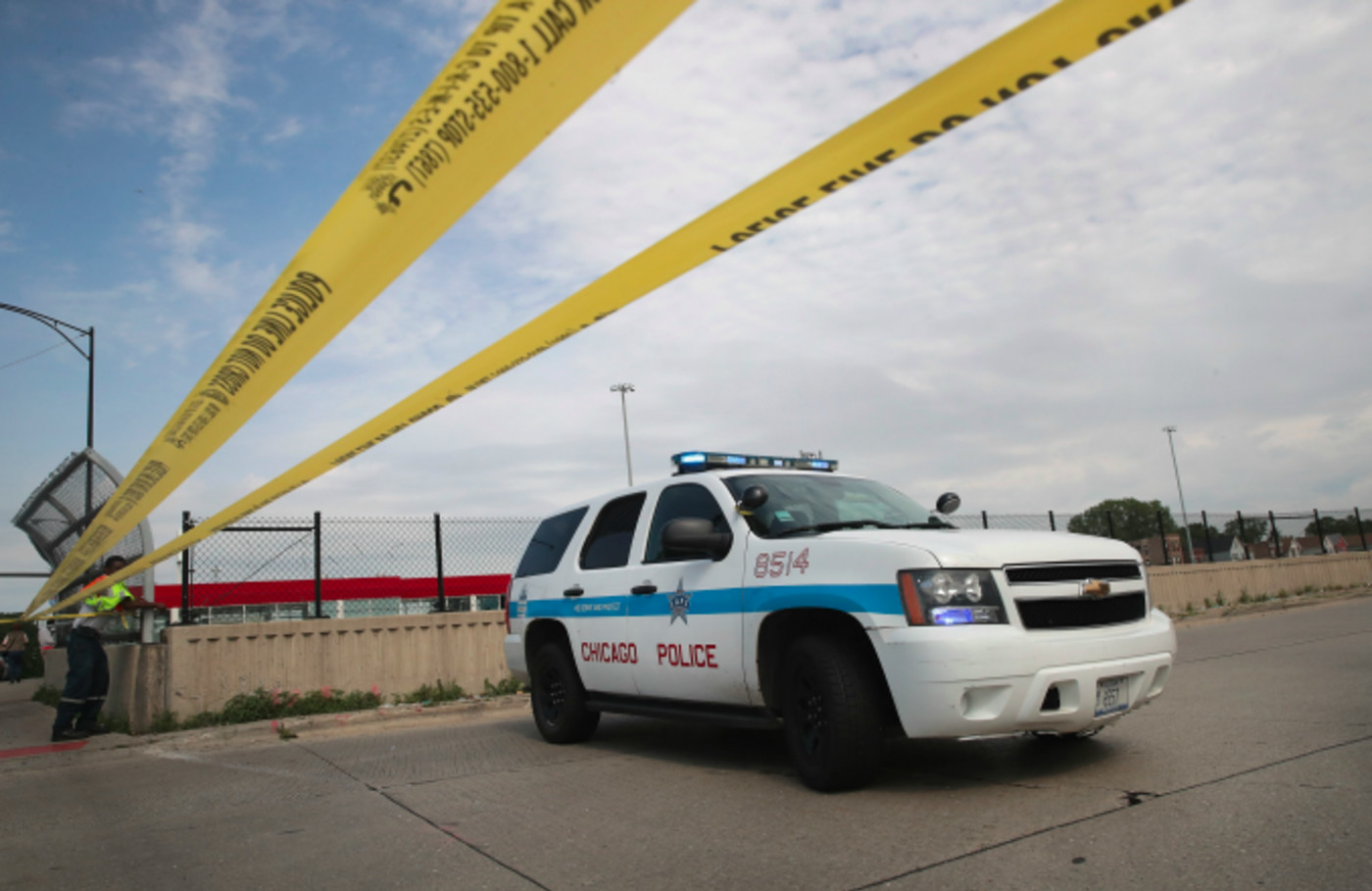 Police investigate the murder