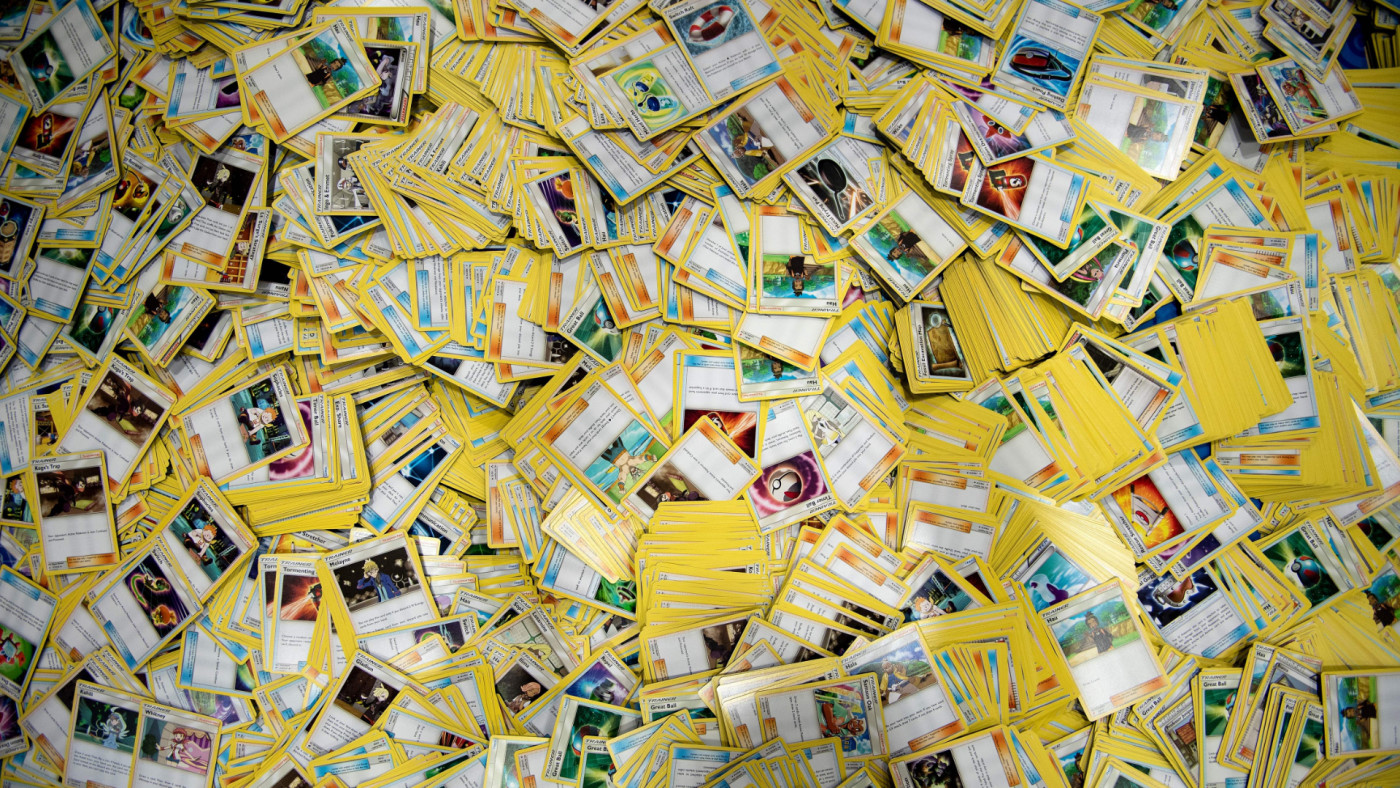 Cards seen for a beginners' clinic during first day of the 2019 Pokemon World Championships.