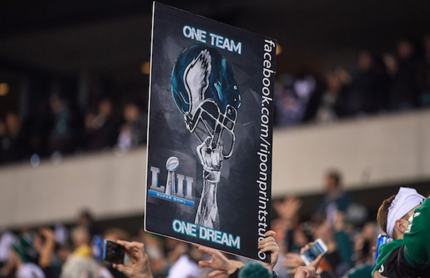 Philadelphia Eagles fan celebrates by holding up a sign during the NFC Championship Game.