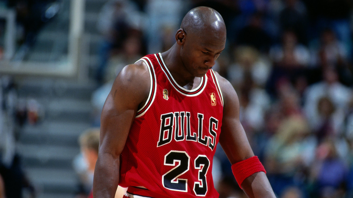 Michael Jordan walks off the court during Game Five of the 1997 NBA Finals.