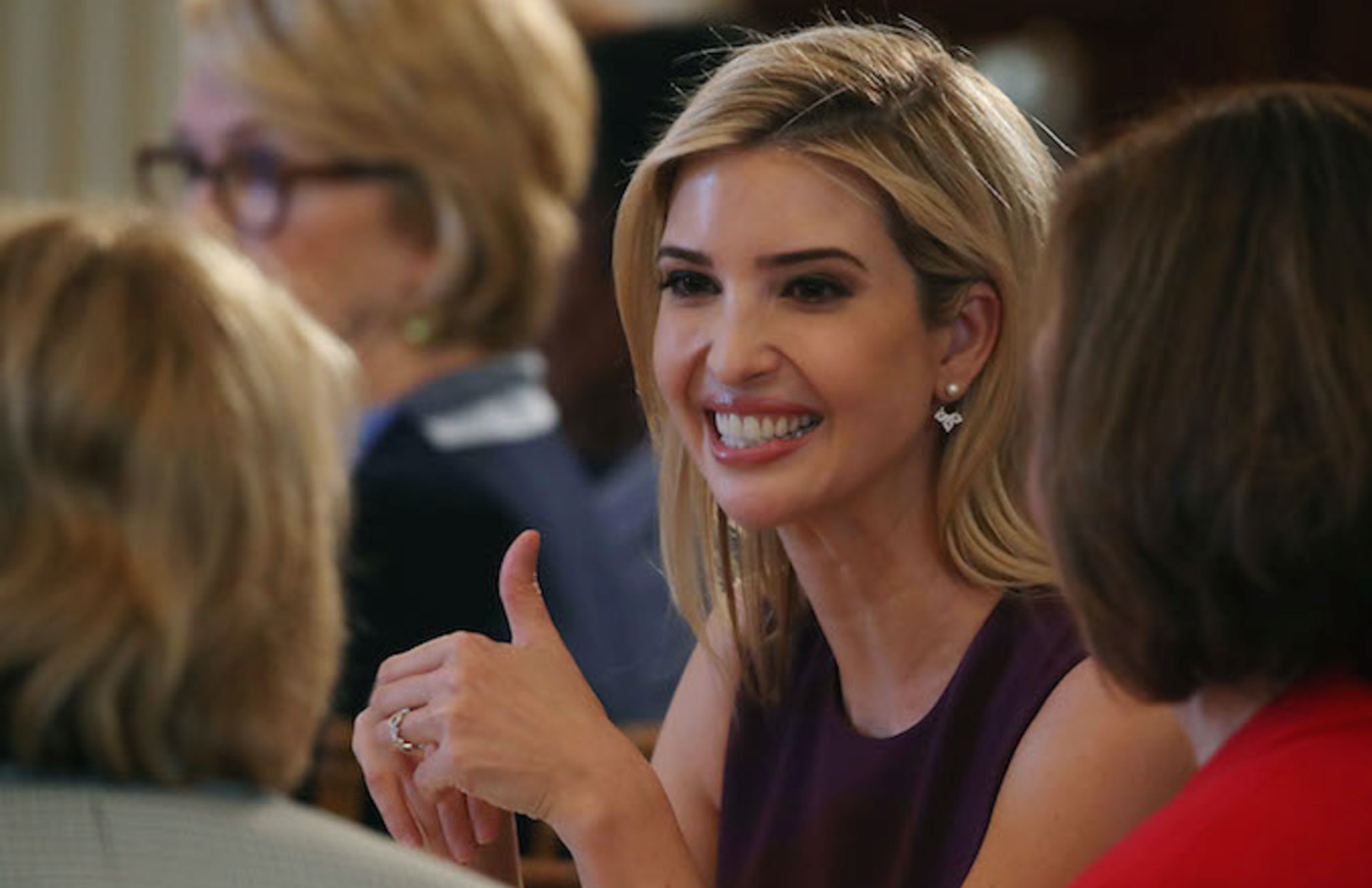 Ivanka Trump attends at a luncheon she was hosting to mark International Women's Day