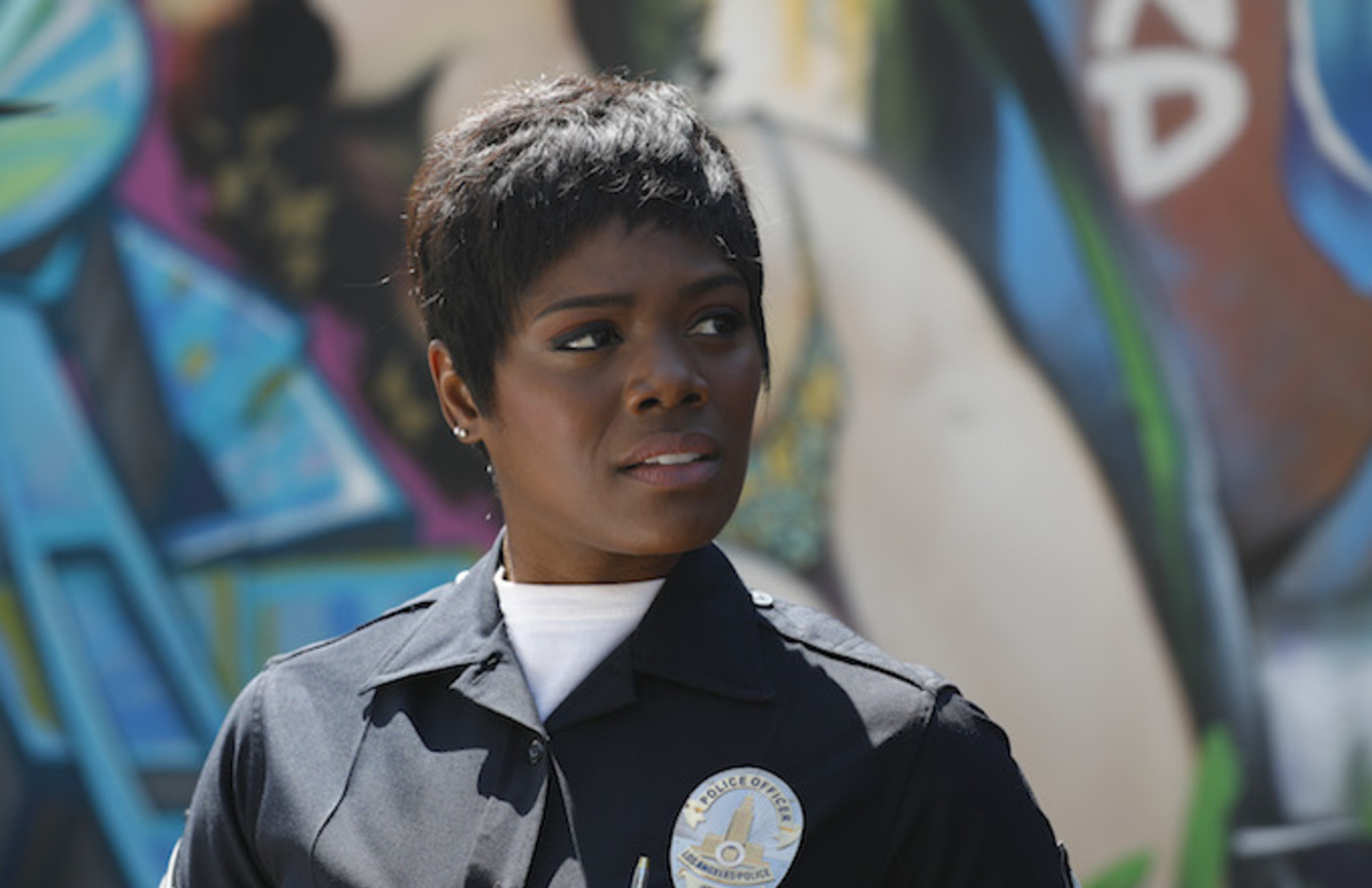 Afton Williamson filming 'The Rookie.'