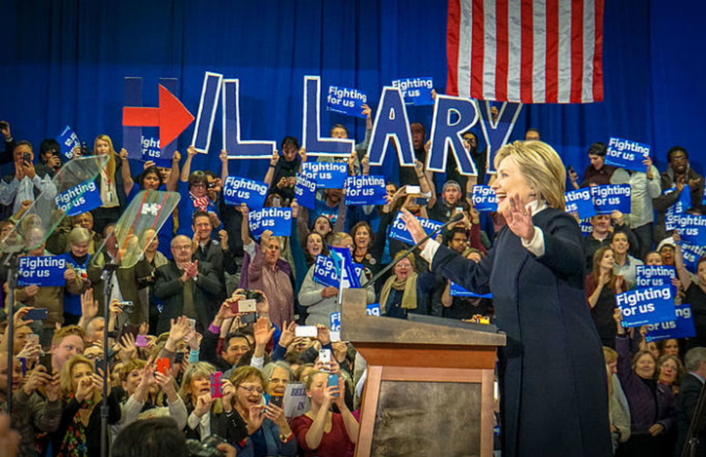 Hillary Clinton and supporters
