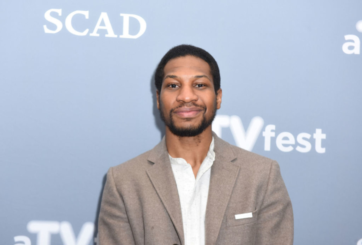 Jonathan Majors attends a press junket for 'When We Rise'