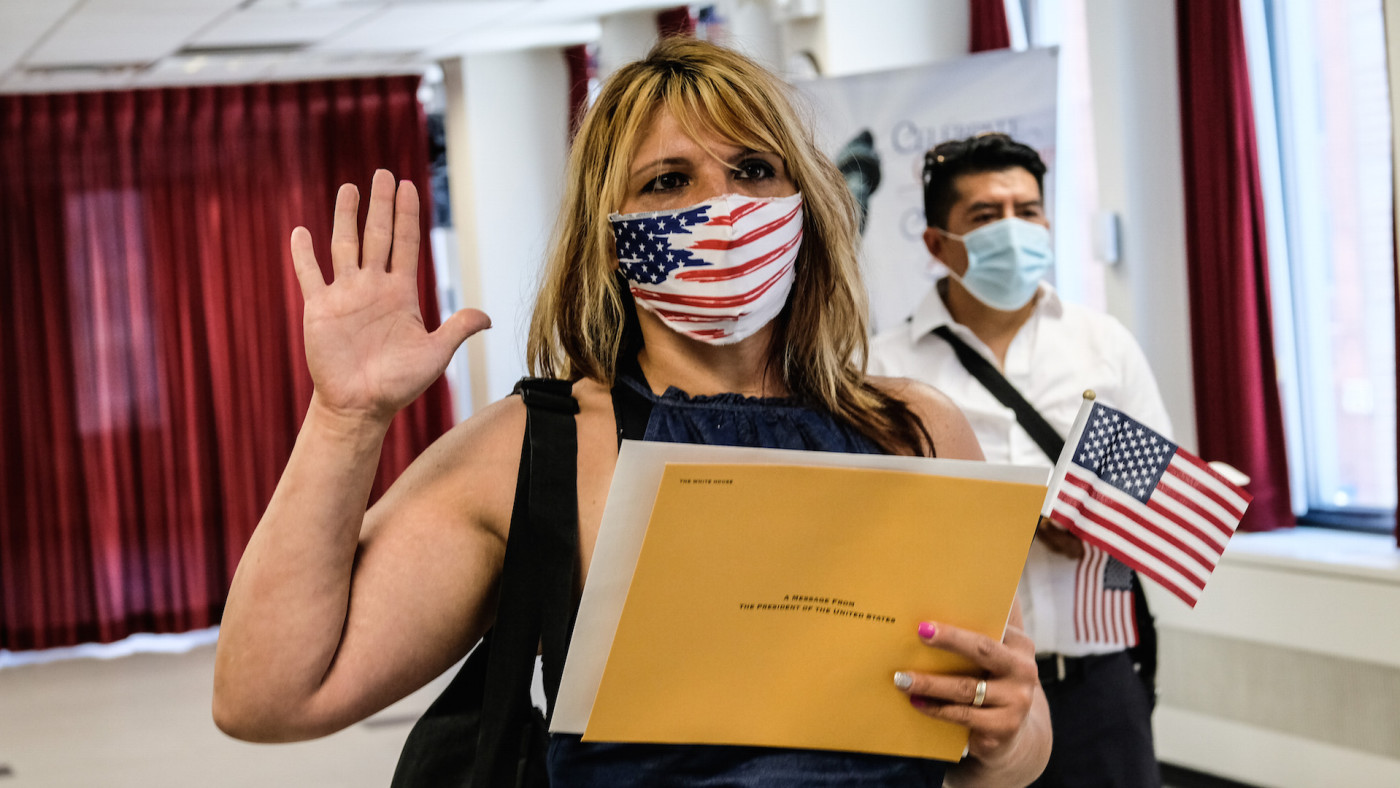 Rosa Alessi, from Italy, is sworn in as a new American citizen