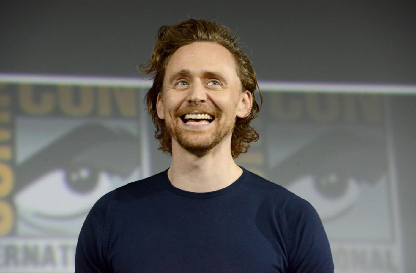 Tom Hiddleston speaks at the Marvel Studios Panel during 2019 Comic-Con