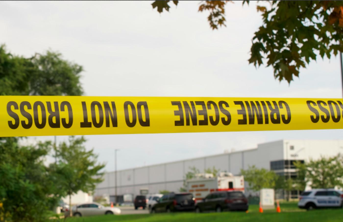 Crime scene tape flutters