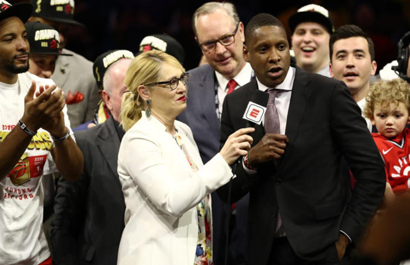 Raptors exec. Masai Ujiri talks to ESPN's Doris Burke after the team wins the 2019 championship.