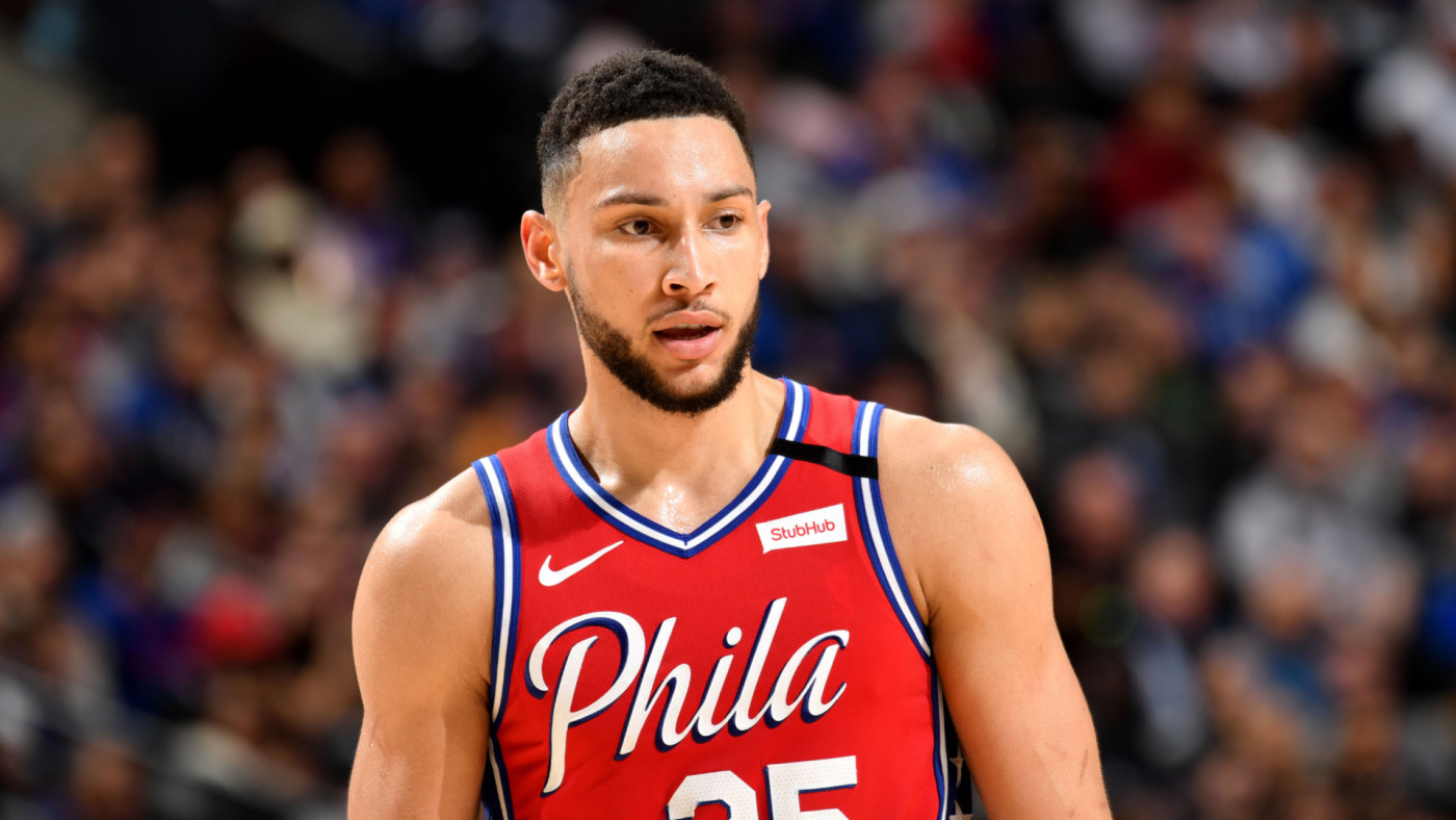 Ben Simmons looks on during a game against the LA Clippers.