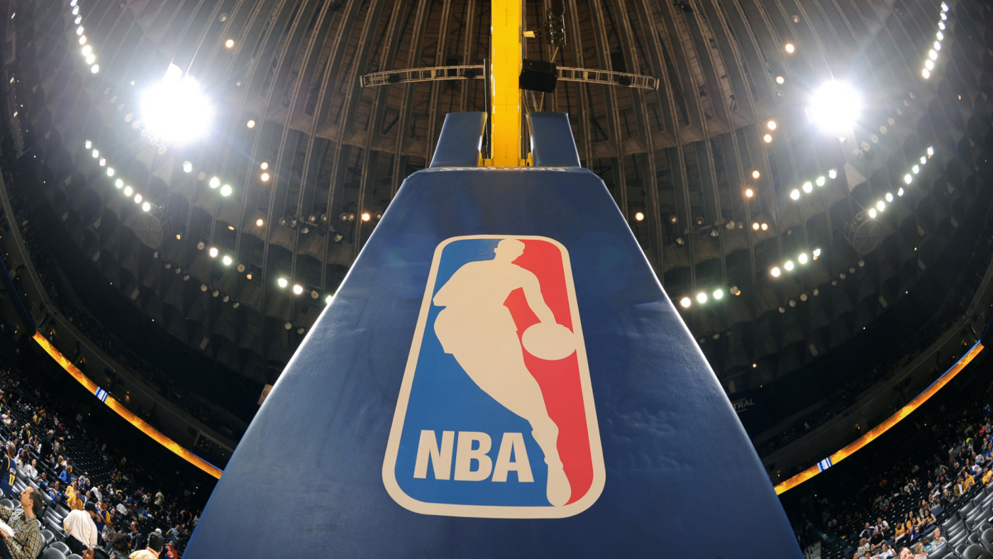 A shot of nba logo on the basket during the game between the Clippers and Warriors.