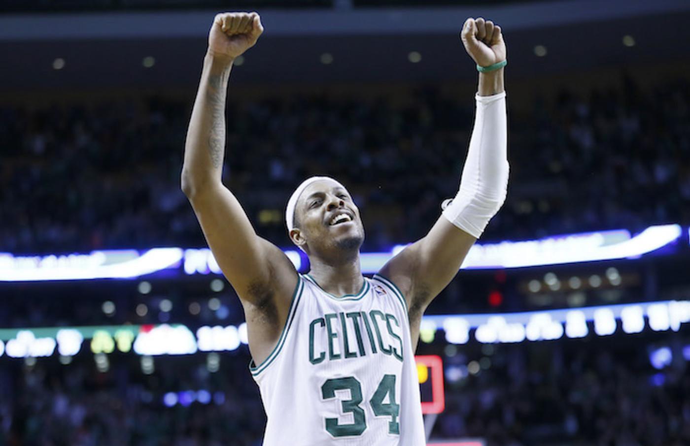 Paul Pierce celebrates win after Celtics 118-114 3OT victory over the Denver Nuggets.