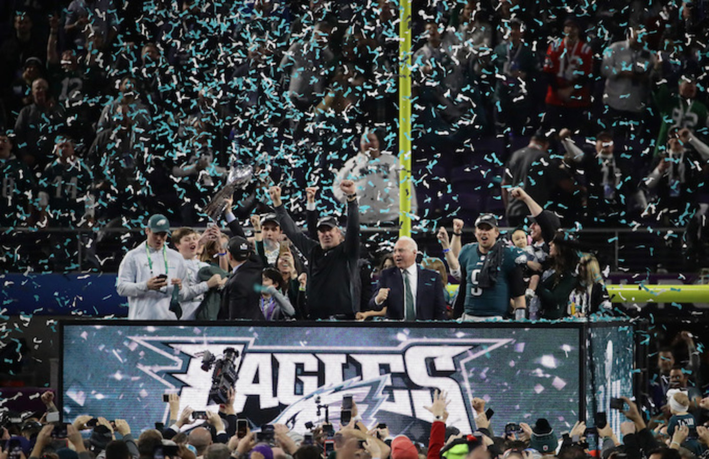 Philadelphia Eagles celebrate with the Vince Lombardi Trophy.