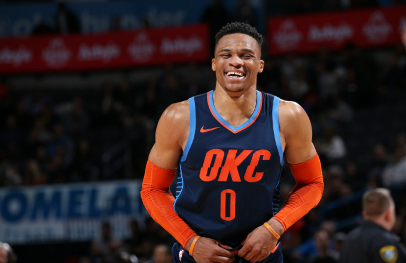 Russell Westbrook #0 of the Oklahoma City Thunder smiles