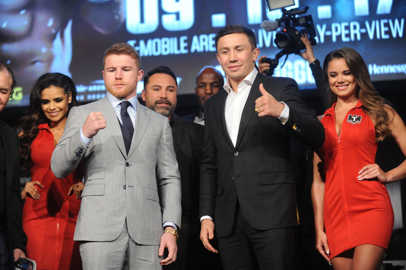Canelo GGG NYC Press Conference 2017 Getty