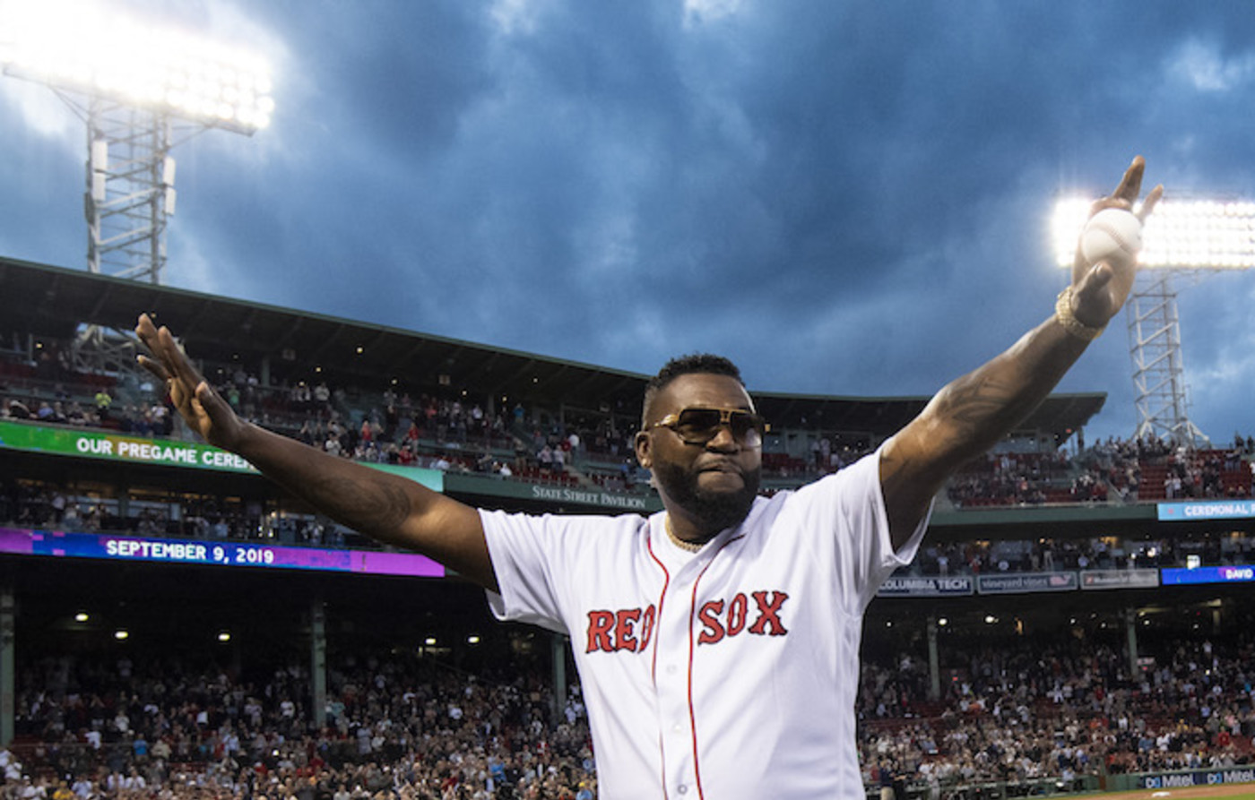 David Ortiz is introduced before throwing out first pitch as he returns to Fenway Park.