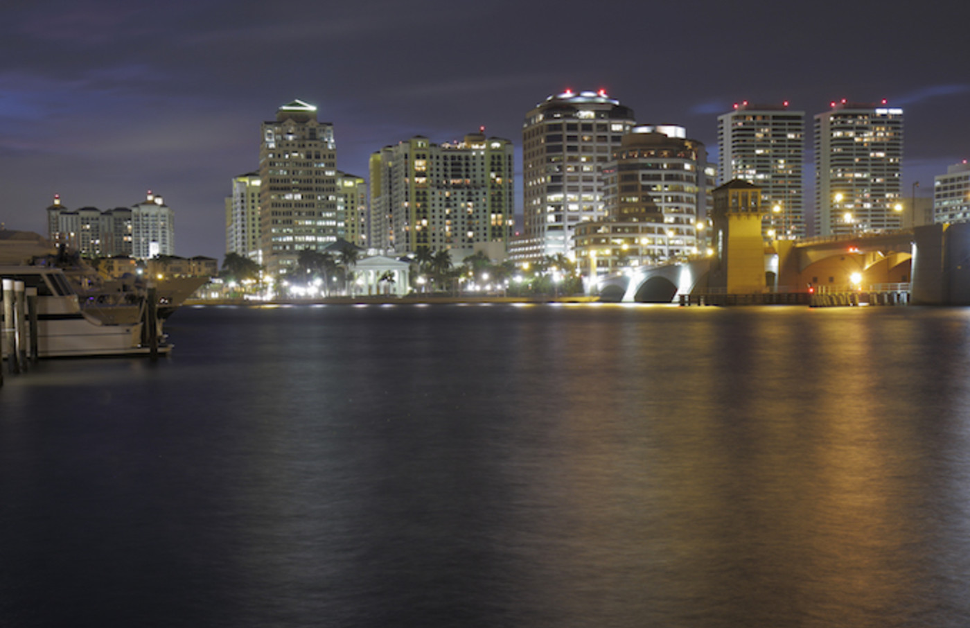 West Palm Beach city skyline at night.