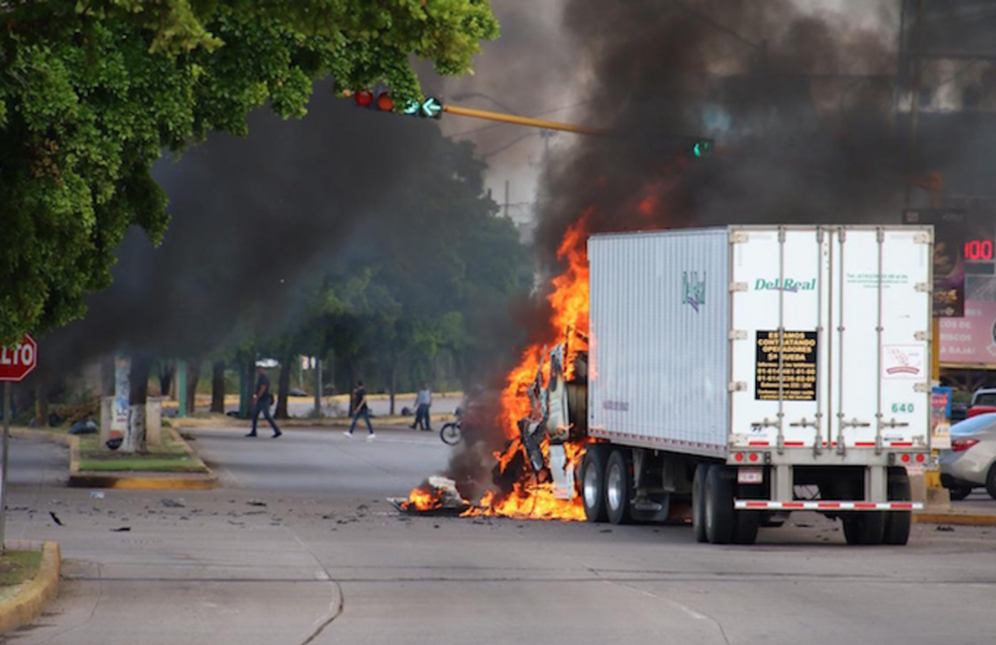 A truck burns in a street of Culiacan, state of Sinaloa, Mexico.