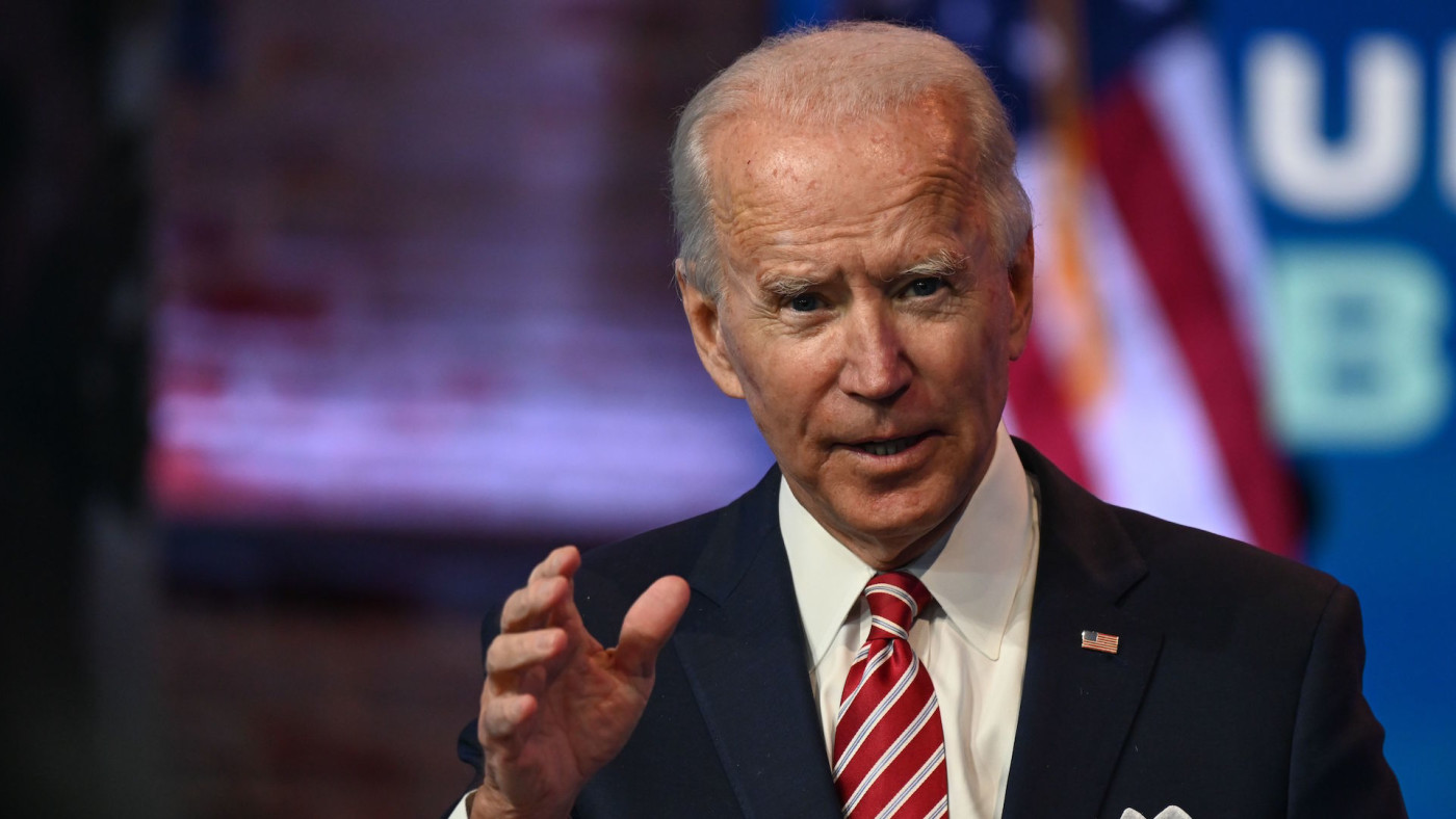 Joe Biden answers questions from the press at The Queen in Wilmington, Delaware.