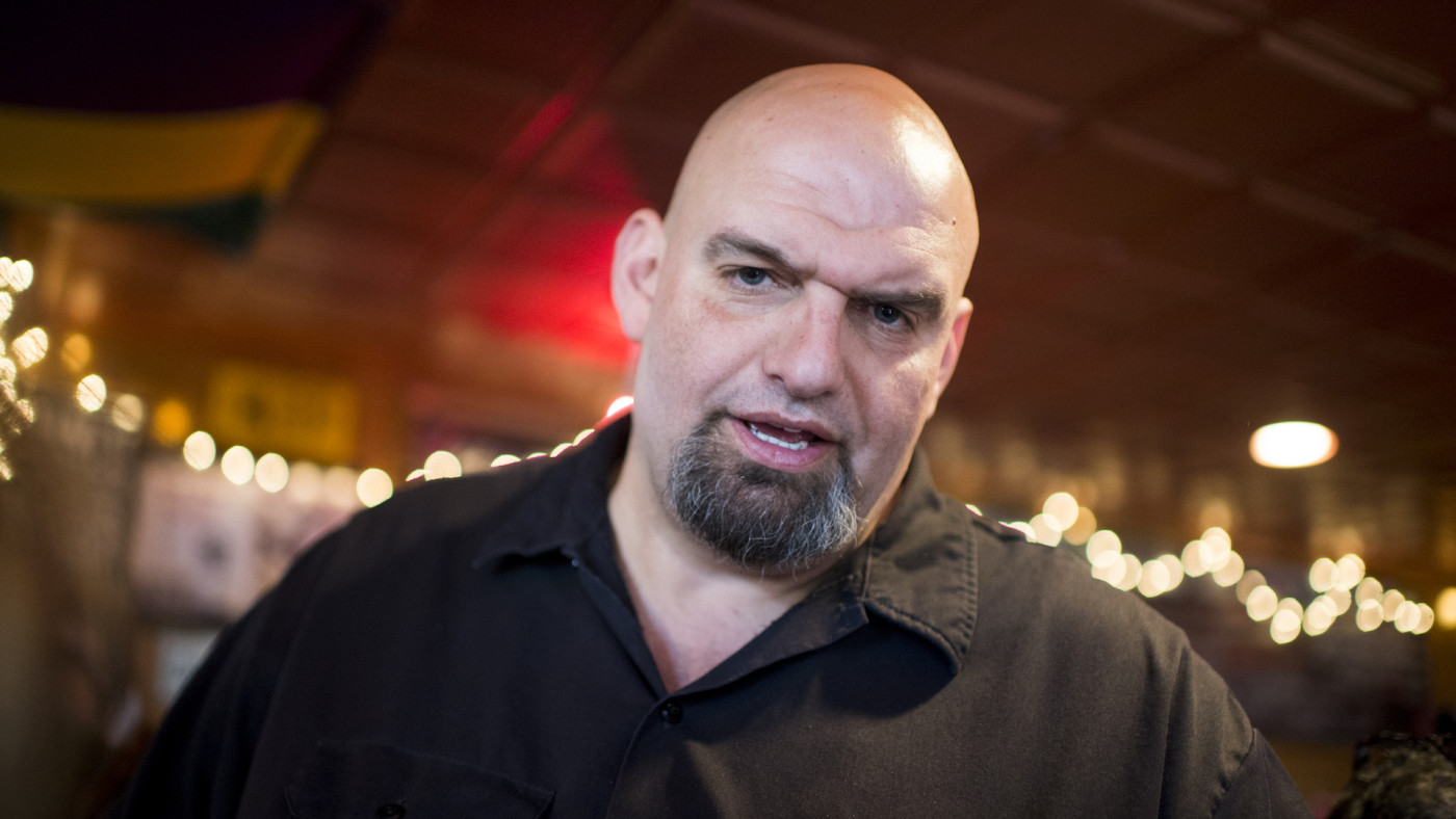 John Fetterman speaks with supporters during his meet and greet campaign stop.