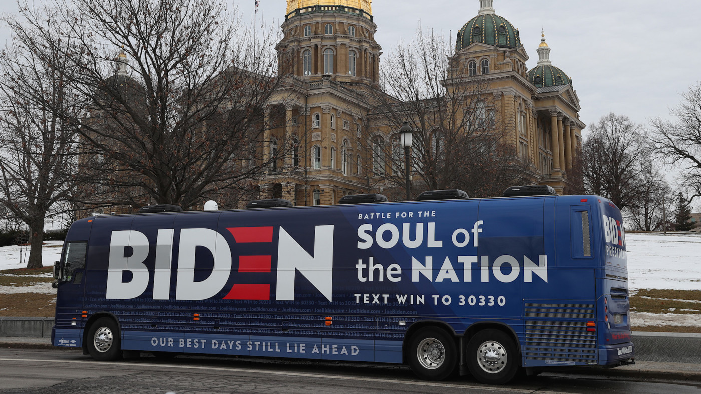 The campaign bus for Democratic presidential candidate former Vice President Joe Biden