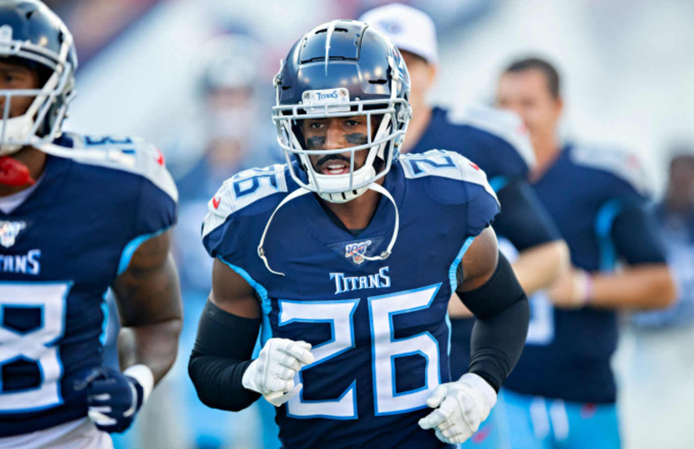 Logan Ryan #26 of the Tennessee Titans jogs onto the field