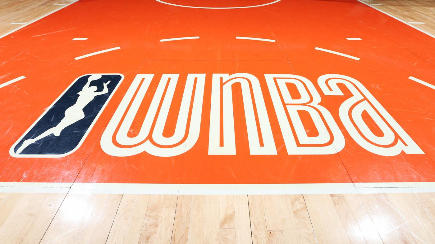 A close-up view of the WNBA logo