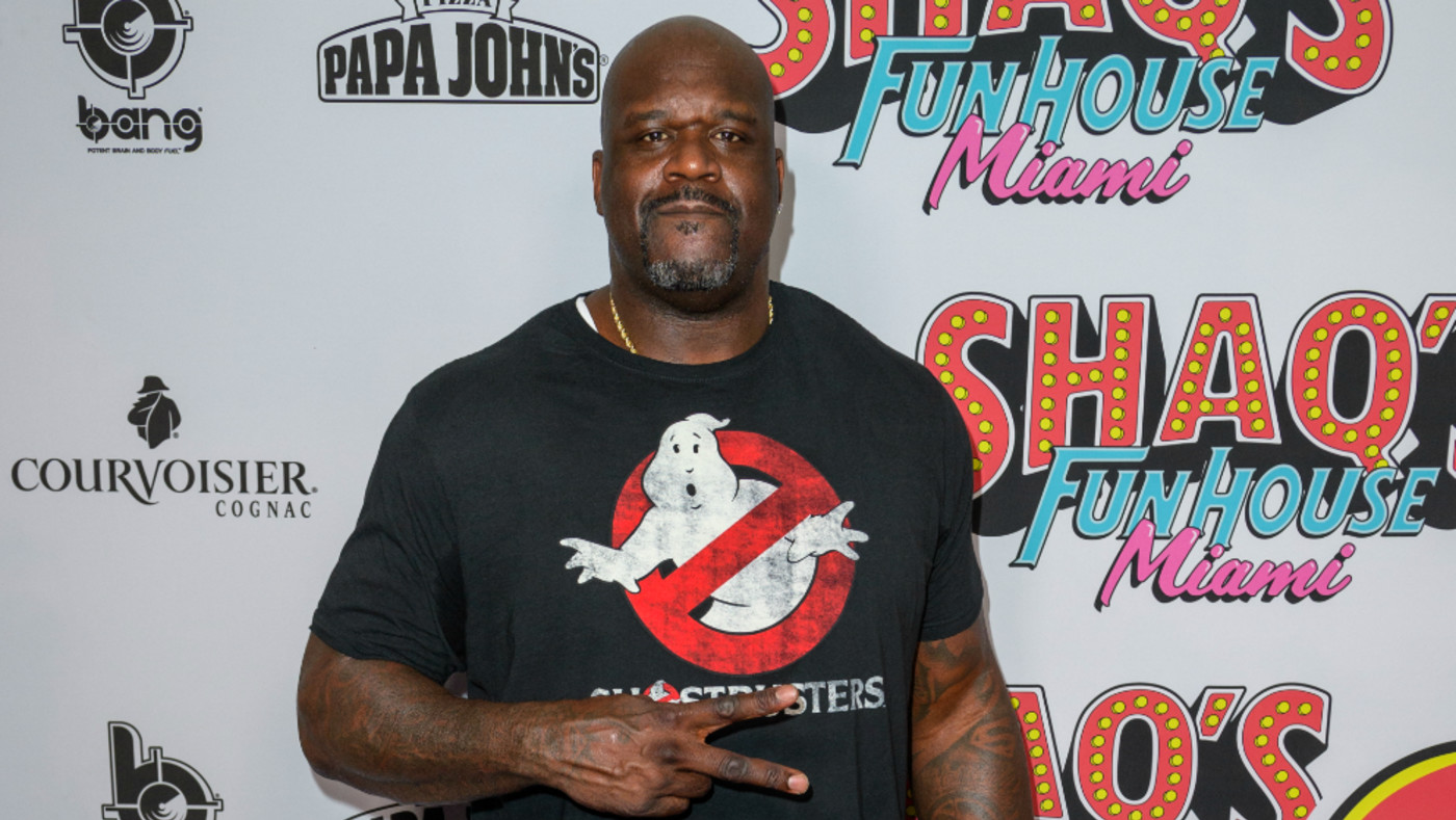 Shaquille O'neal arrives at Shaq's Fun House at Mana Wynwood Convention Center