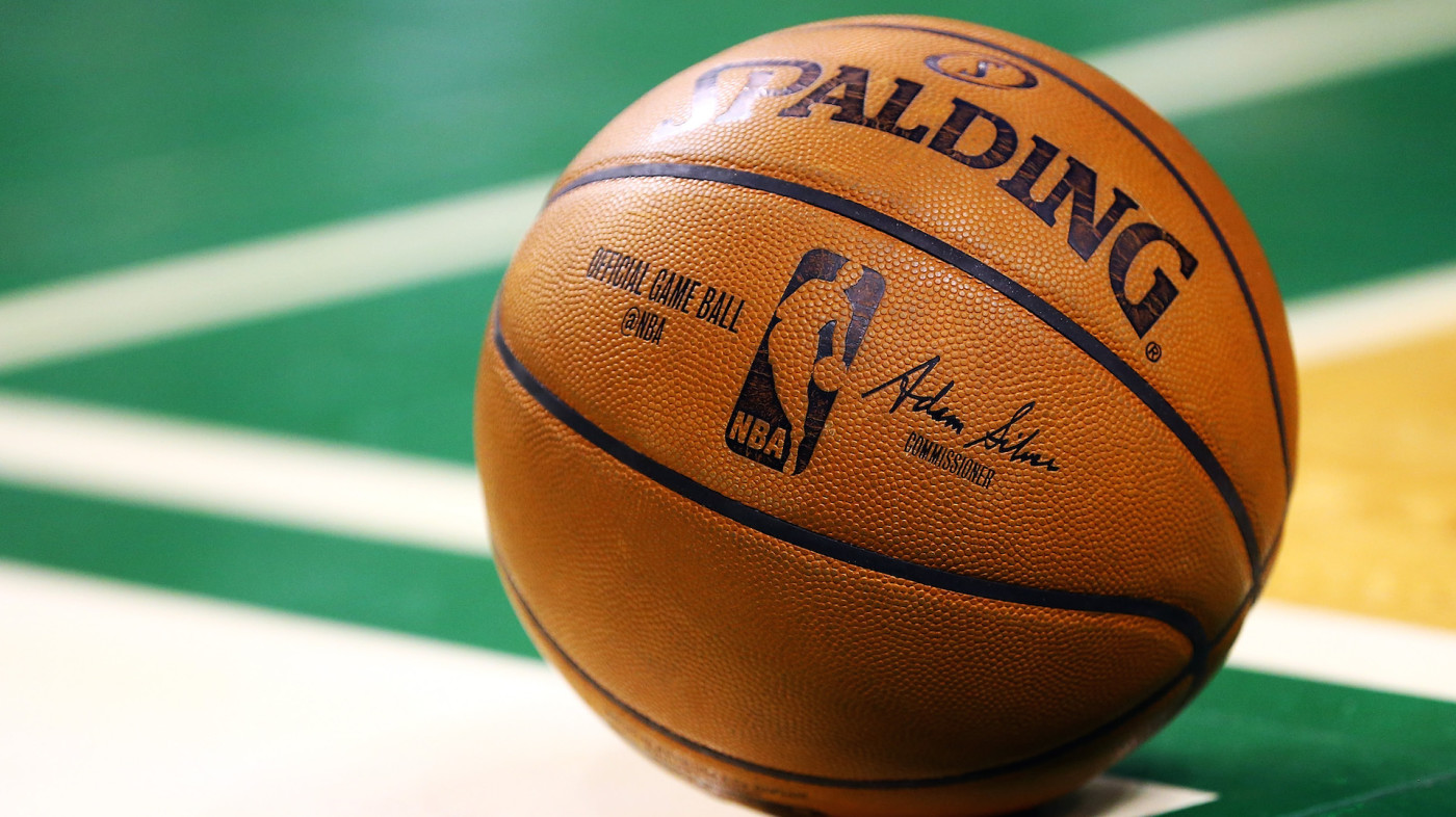 A general view of a Spalding basketball during a game