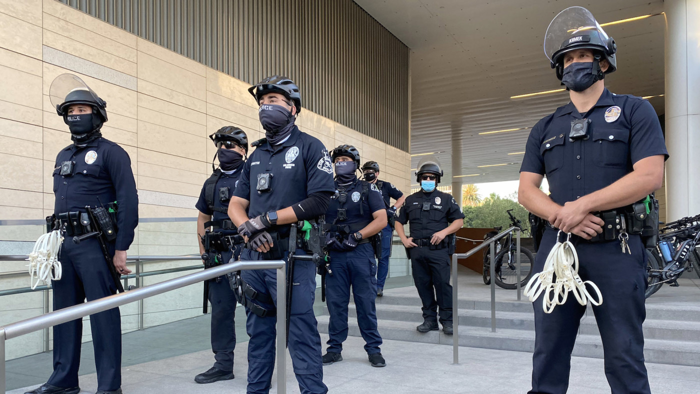 LAPD stands guard outside the Police Headquarters