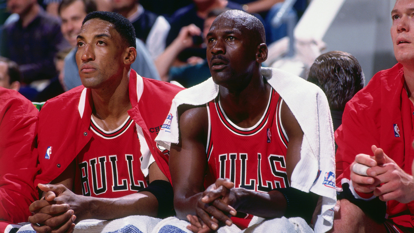 Scottie Pippen and Michael Jordan look on during a game played on May 23, 1998.