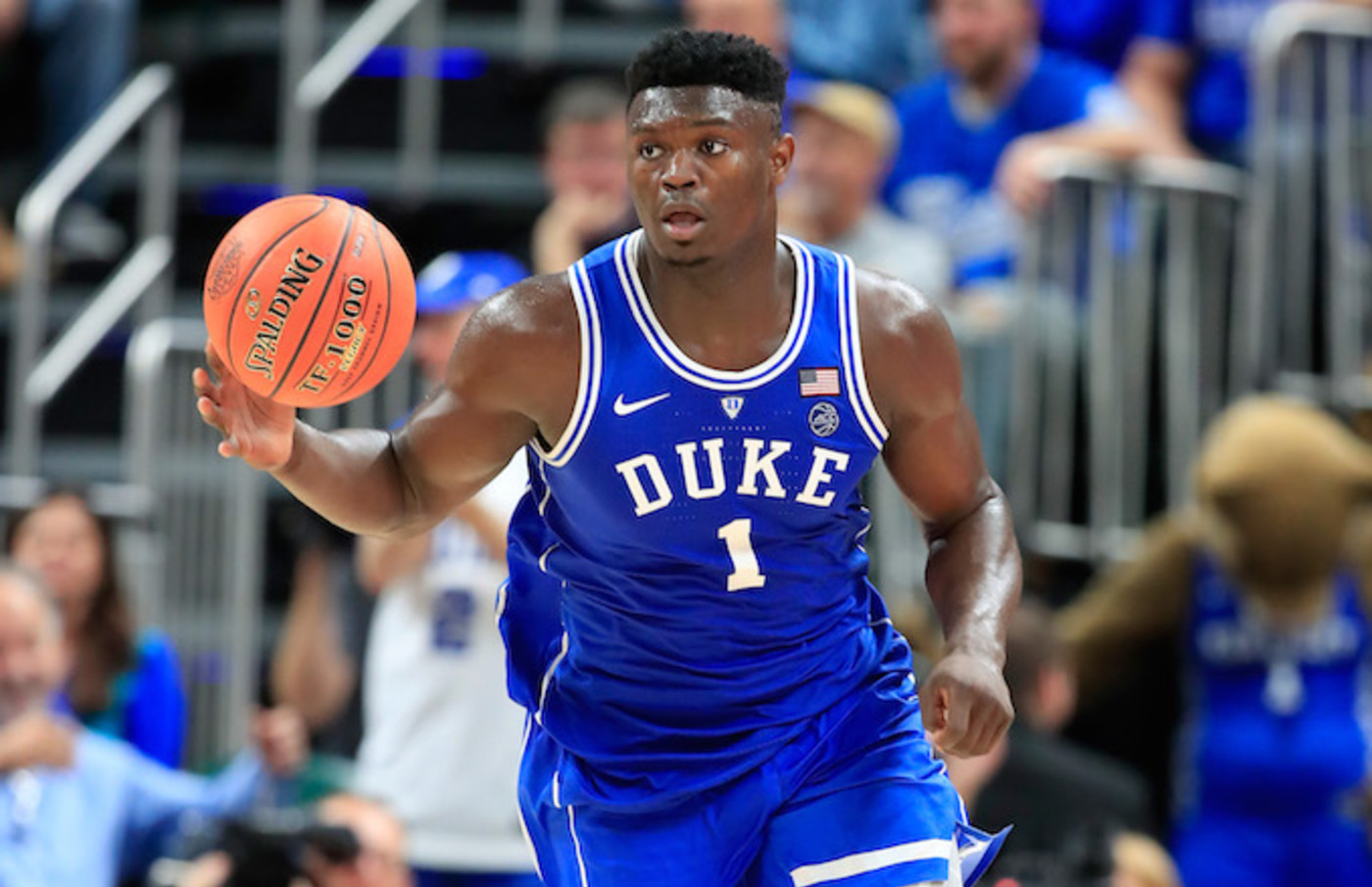 Zion Williamson #1 of the Duke Blue Devils.
