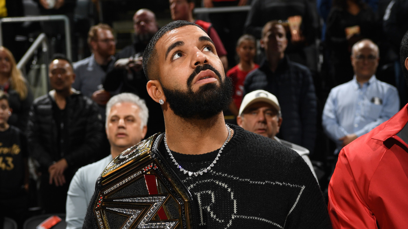 Rapper, Drake, attends a game between the Milwaukee Bucks and the Toronto Raptors